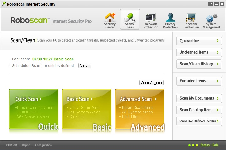 Interfaz de Roboscan Internet Security Free