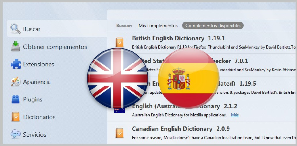 Diccionario idiomas Firefox