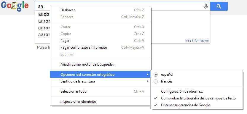 Diccionario-corrector en Chrome.