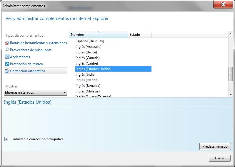 Cambiar diccionario - corrector ortográfico en Internet Explorer