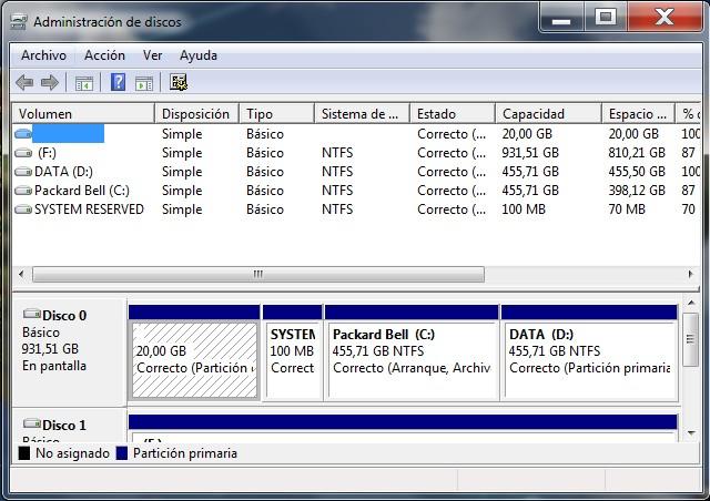 Crear y Administrar particiones del disco duro