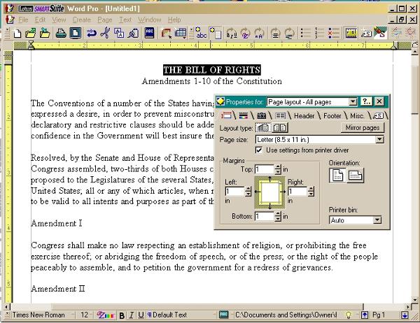 Captura de pantalla de Lotus Word Pro
